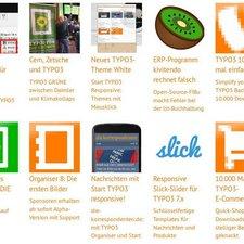 TYPO3 xBlog: Listenansicht mit Nachrichten in sechs Spalten. Bilder oberhalb vom Text.